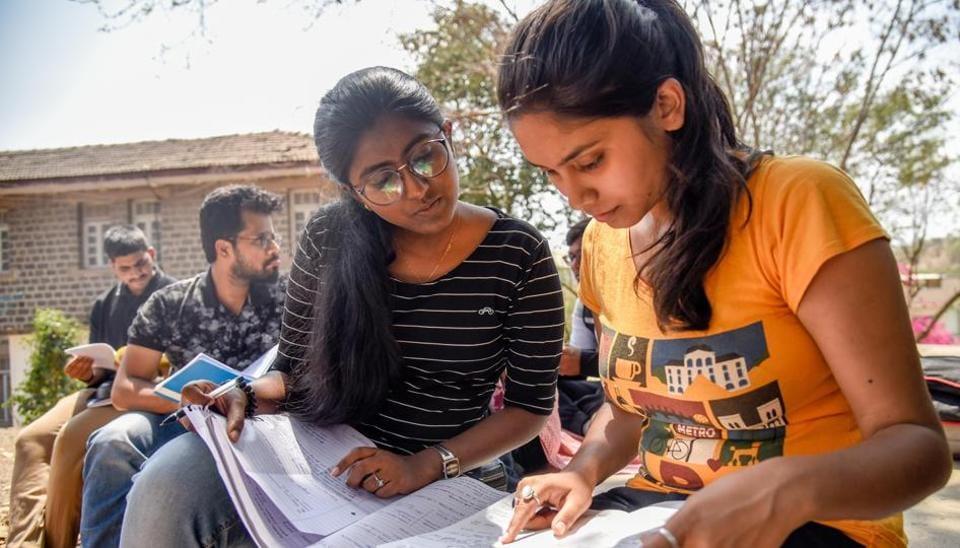 Students prepare for examination at Karve Institute of Social Services, Karvenagar, on Thursday.