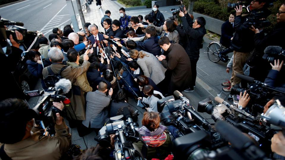 Junichiro Hironaka, chief lawyer of the former Nissan Motor Co. Ltd chairman Carlos Ghosn, speaks to media in Tokyo, Japan. (Issei Kato / REUTERS)