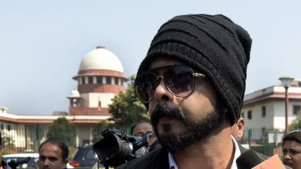 On Friday, the Supreme Court set aside the BCCI's disciplinary committee's order imposing a life ban on former Indian cricketer S Sreesanth for his alleged involvement in the 2013 IPL spot-fixing scandal. The bench passed this order on Sreesanth's plea challenging the decision of a division bench of the Kerala High Court which had restored the life ban. (Sushil Kumar / HT Photo)
