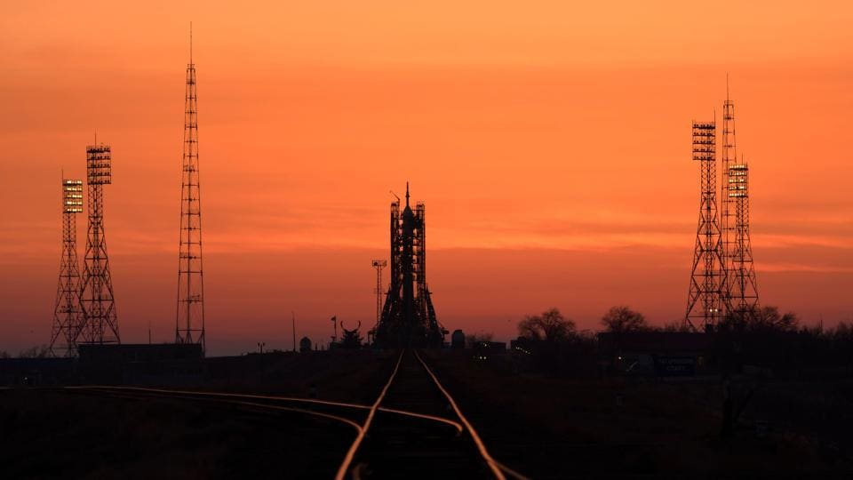 The Soyuz rocket is seen at dawn on launch site 1 of the Baikonur Cosmodrome, Kazakhstan. (Bill Ingalls / NASA / AFP)