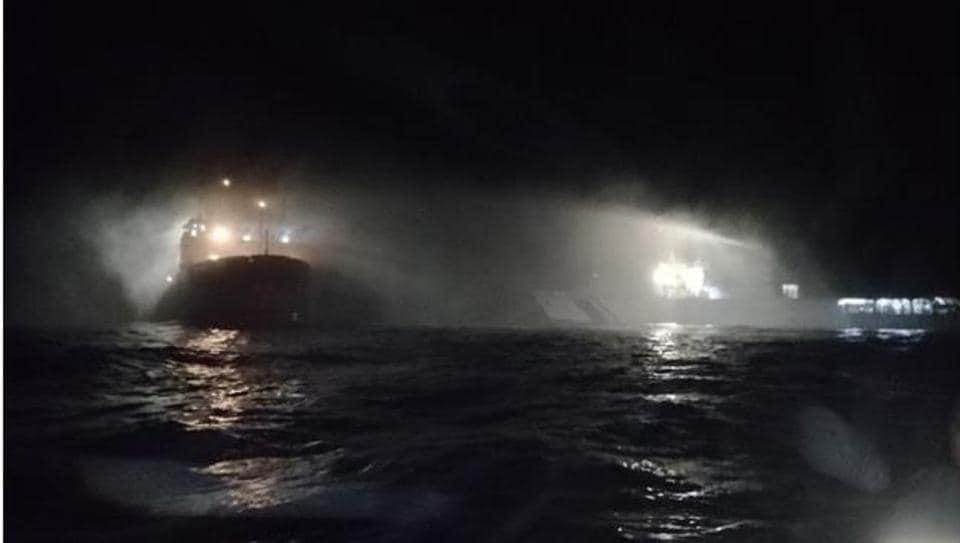 Indian Coast Guard ships -Vikram and Shoor-doused a major fire on board a ship, Sagar Sampada.