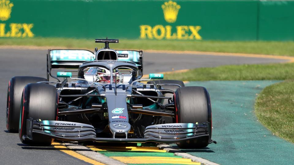 Mercedes' British driver Lewis Hamilton drives during the first Formula One practice session in Melbourne.