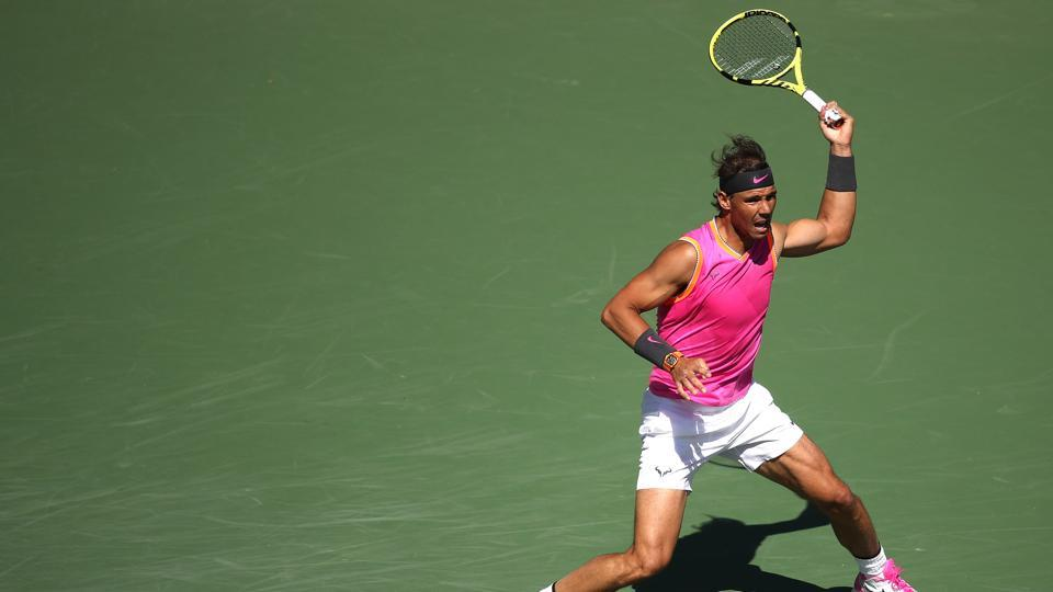 Rafael Nadal in action at Indian Wells.