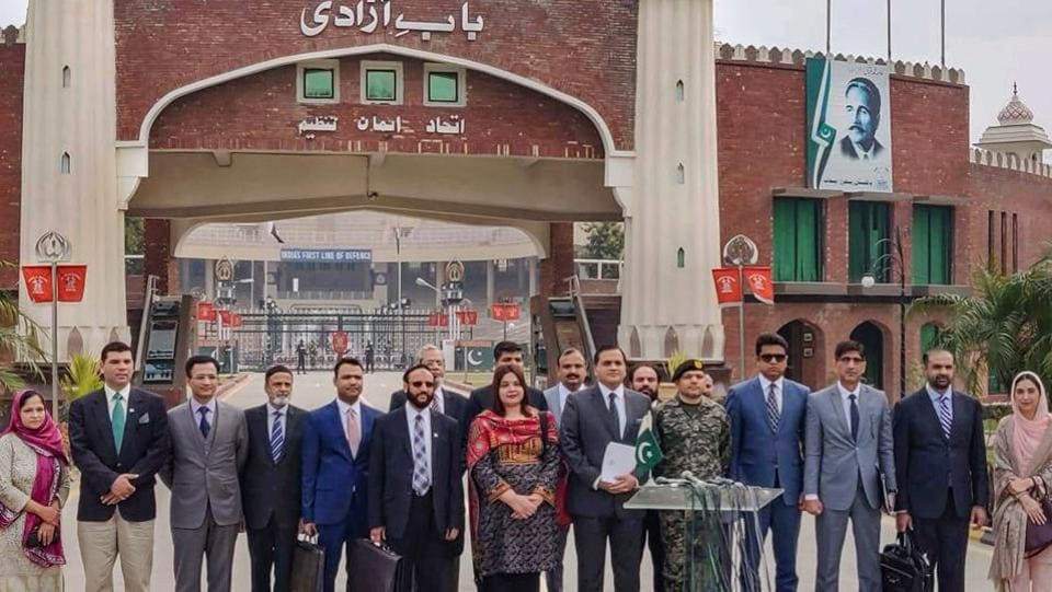 The Pakistani delegation crosses the Attari-Wagah border for a bilateral talks to negotiate a mechanism to govern operations of the Kartarpur Corridor, which will provide visa-free access to Indian Sikh pilgrims to the Gurdwara in Kartarpur Sahib, at Attari-Wagah. (PTI)