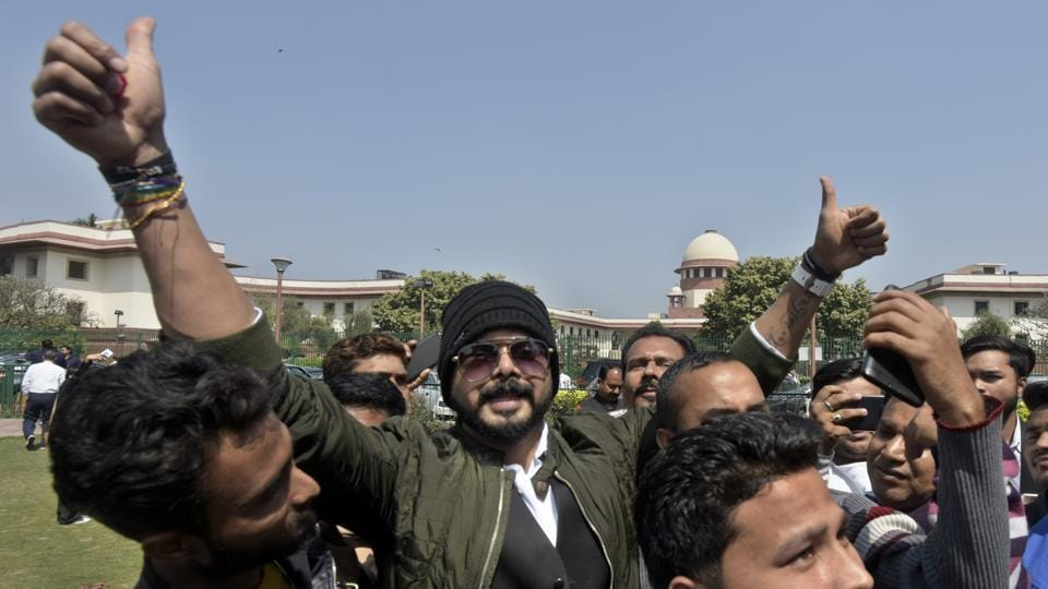 S. Sreesanth, former Indian cricketer reacts after the Supreme Court lifted the life ban imposed on him by BCCI for his alleged involvement in the IPL spot-fixing scandal, at Supreme Court in New Delhi. (Sushil Kumar / HT Photo)