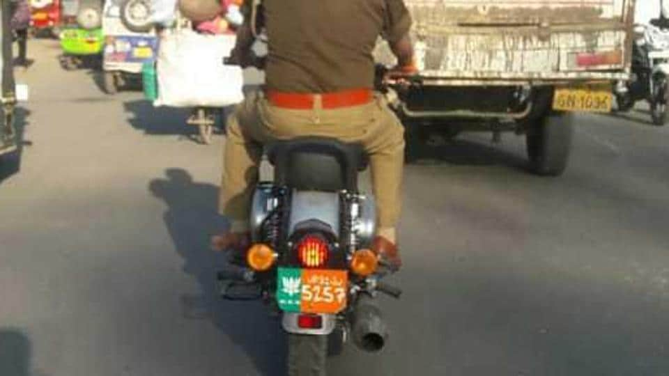 Police officials said the S-I's motorcycle was seized after registration of FIR for violation of model code of conduction .