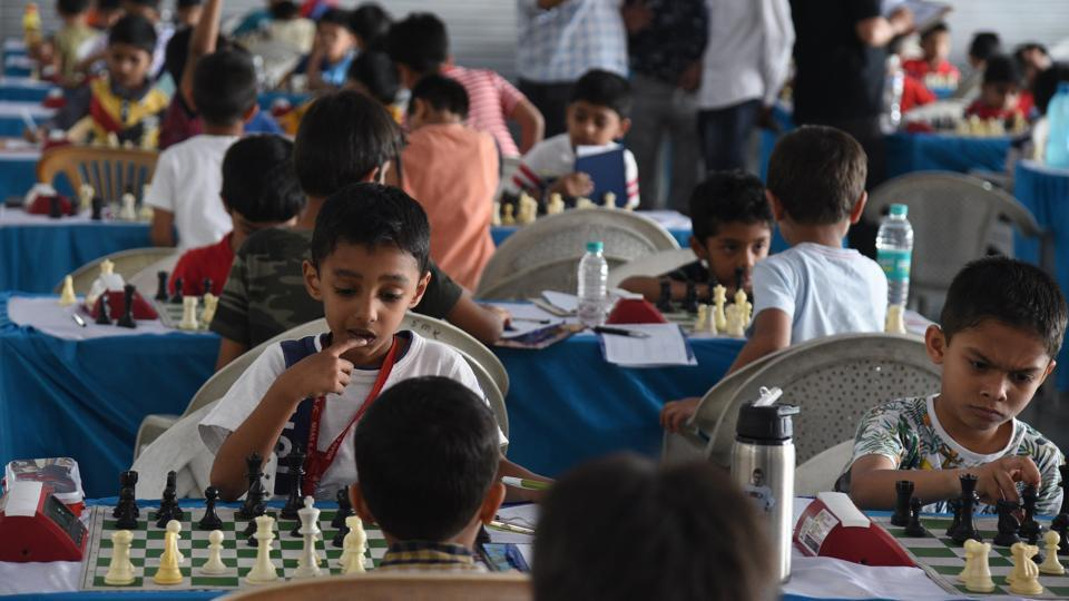 Players in action on the second day of Maharashtra state selection under-7 chess championship played at Khed Shivapur on Saturday.