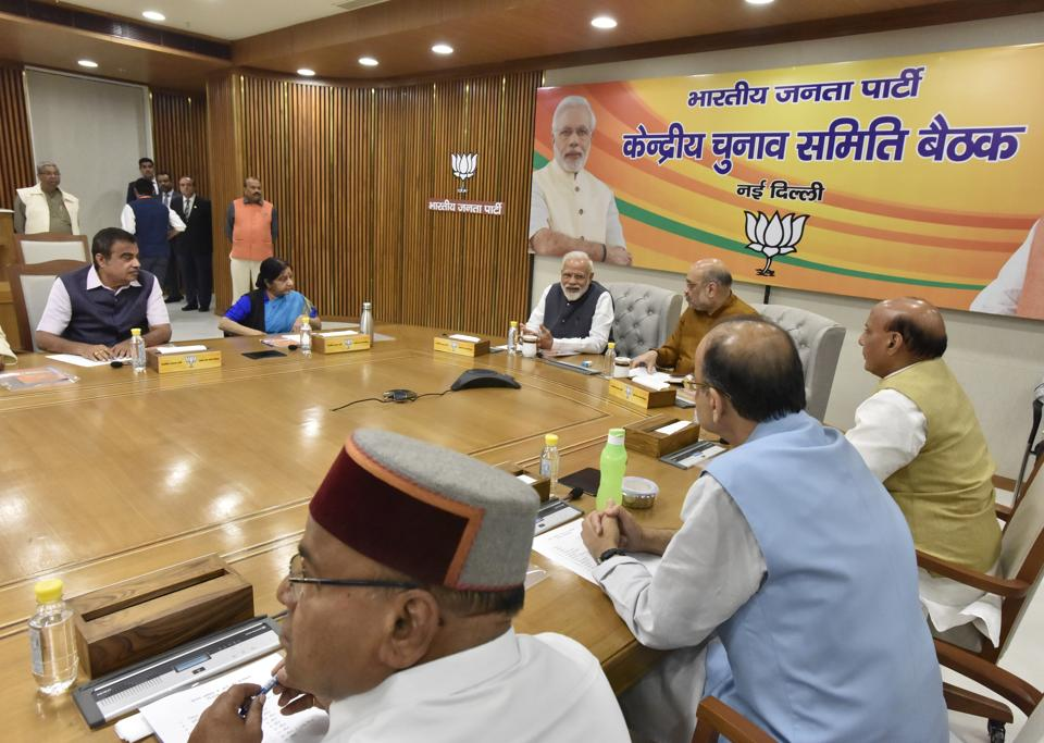 Prime Minister Narendra Modi, Bharatiya Janata Party (BJP) chief Amit Shah and other BJP leaders during the central election commitee meeting to discuss key issues about selection of candidates for the Lok Sabha elections, at BJP headquarters, in New Delhi on March 16.