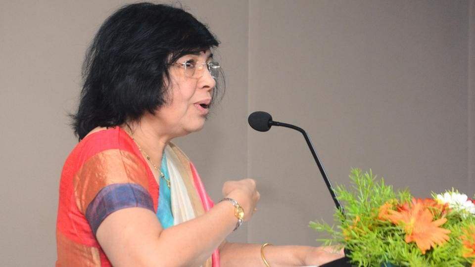 Shalini Phansalkar Joshi, former judge speaks during the Law day function at Symbiosis Law School in Pune on Saturday.