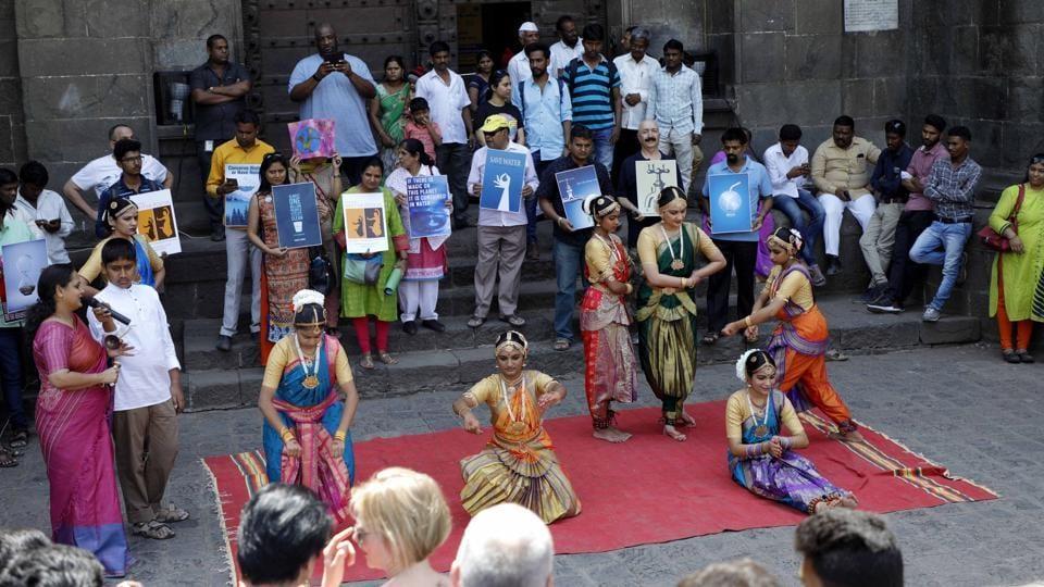 Students perform 'Bharatanatyam' during a unique awareness programme 'Jal Hosh' at Shaniwarwada on Saturday.