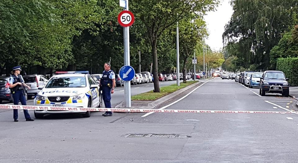 Police cordon off the areas close to the mosque after a gunman filmed himself firing at worshippers inside in Christchurch on March 15.