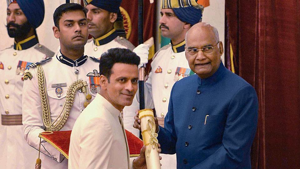 New Delhi: President Ram Nath Kovind confers Padma Shri upon Bollywood actor Manoj Bajpayee.