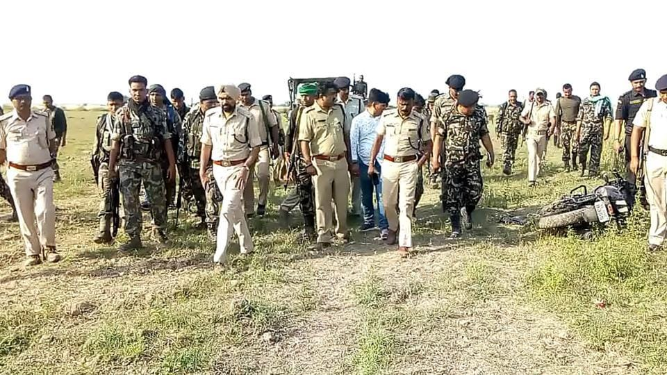 Police force at encounter site at Hajipur in Patna
