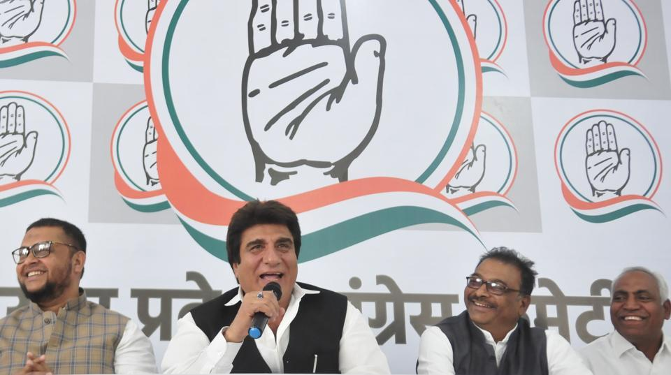 Uttar Pradesh Congress Committee (UPCC) President Raj Babbar with leaders of Jan Adhikar Party in Lucknow on Sunday, March 17, 2019.