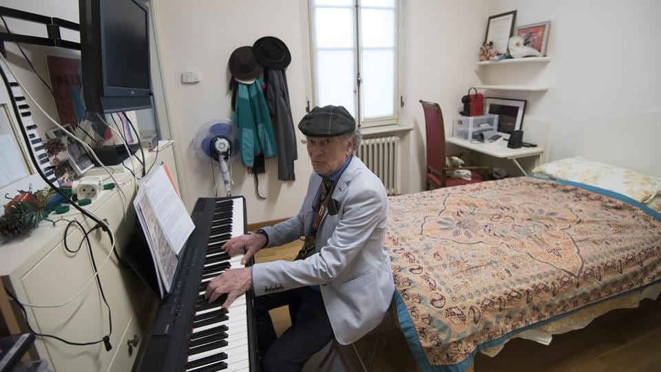 "The home has also received donations, such as one of about six million euros ($6.8 million) from the daughter of Italian conductor Arturo Toscanini, which are subsequently invested. ""We get room and board, there's medical help. We're looked after marvellously and we have everything: rooms to play the piano, a concert hall,"" said pianist Raimondo Campisi, 71. (AFP)"