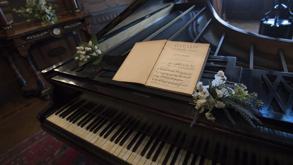 A piano and a music sheet of Verdi's Otello are at Casa Verdi. Besides retirees, the Casa is also home to around 15 music students, some from Milan's renowned La Scala Academy, as part of a project to connect different generations started in 1999. (AFP)