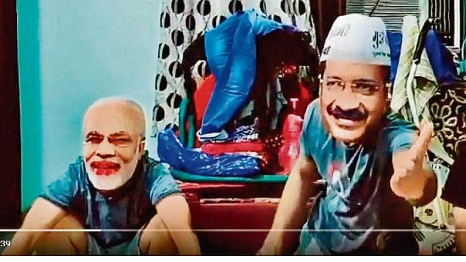 A screengrab of a satirical political video on TikTok.