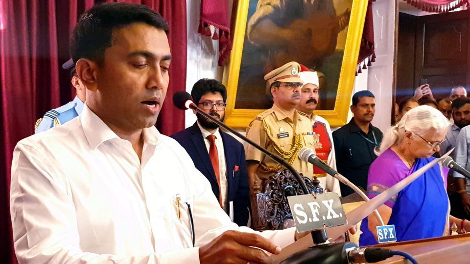 """Newly-sworn in Goa chief minister Pramod Sawant has said he will take forward the legacy of his predecessor Manohar Parrikar as he admitted he had a """"big responsibility"""" before him. Parrikar, who was diagnosed with advanced pancreatic cancer in February last year, died on Sunday evening. Sawant was sworn in early Tuesday morning. (PTI)"""