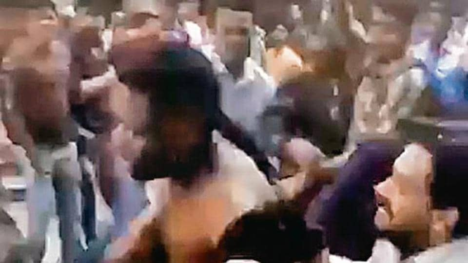 In the video clip that surfaced on social media on Wednesday, a dozen men were seen assaulting a person from Nigeria in Delhi's Dwarka area.
