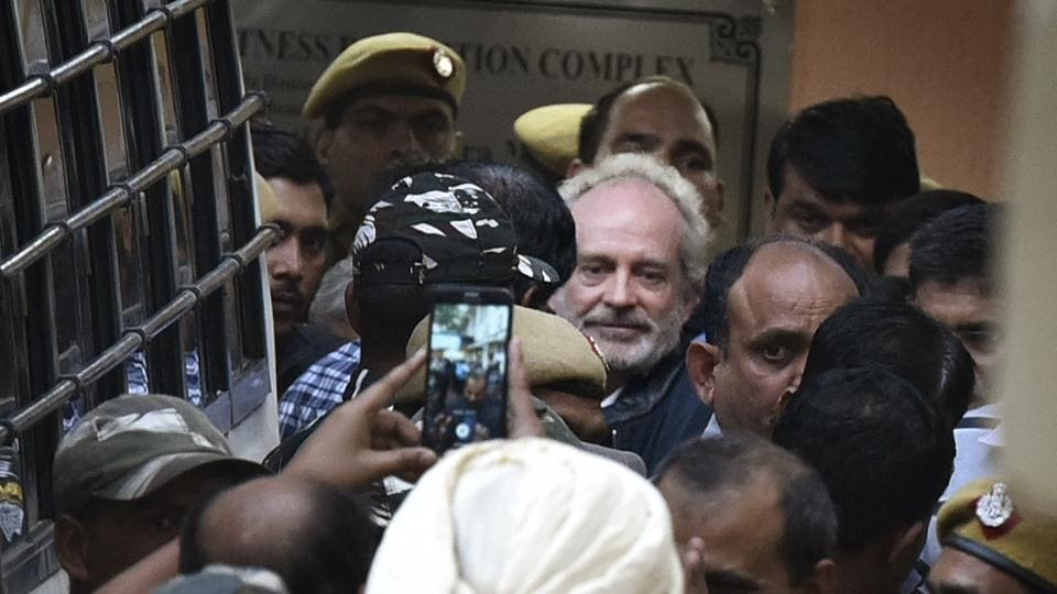 Christian Michel, 58, the alleged middleman in the AgustaWestland deal has demanded that he be served a European breakfast, wanted his prison space changed three times, and said he is being treated like a monkey in a zoo. He has complained of inmates defecating in the open and of him having to do it, too. Michel's litany of complaints has made him Tihar jail's most demanding inmate, prison officers say. (Raj K Raj / HT File)