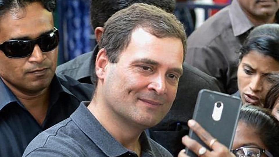 Congress president Rahul Gandhi poses for selfies by students at Stella Maris Women's College in Chennai on March 13, 2019.