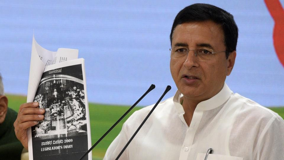 The Congress on Friday demanded an independent probe into a media report that alleged BS Yeddyurappa had paid bribes running into hundreds of crores of rupees to senior BJP leaders. The report was based on the alleged contents of a diary that it said, had been with the income tax department since 2017. Party spokesperson Randeep Surjewala said it was time the government got the diary probed by an independent agency. (Mohd Zakir / HT Photo)