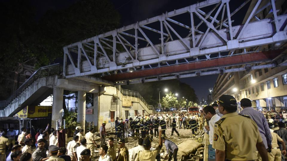 The Himalaya Foot over Bridge leading to CSMT Station collapsed in Mumbai, on March 14, 2019.