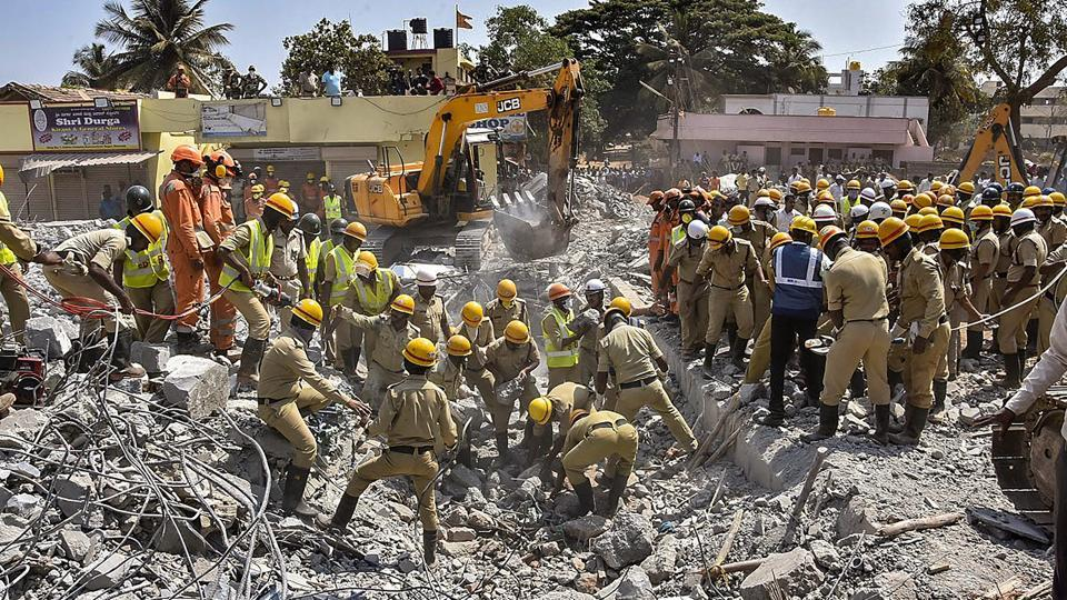 The Dharwad building collapse death toll mounted to 14 on Friday, Director General of Police (Fire and Emergency Services) MN Reddy confirmed. Rescue operations led by teams of National Disaster Response Force (NDRF) and State Disaster Response Force are still underway. (PTI)
