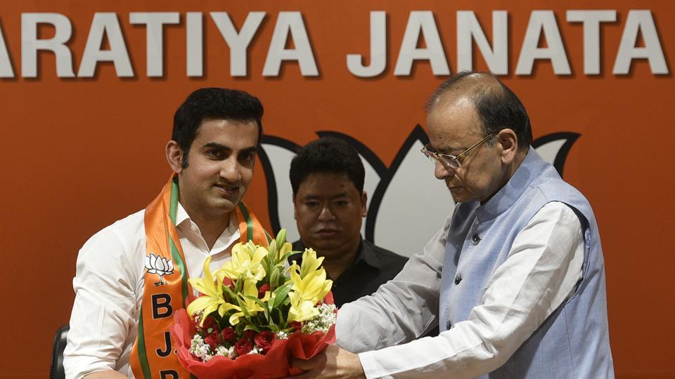 "Former Indian cricketer Gautam Gambhir joined the Bharatiya Janata Party on Friday with weeks to go for the Lok Sabha elections. ""I am impressed by Prime Minister Narendra Modi's vision... I have contributed to the field of cricket and now hope to do more for the country"", the 37-year-old cricketer said. (Biplov Bhuyan / HT Photo)"