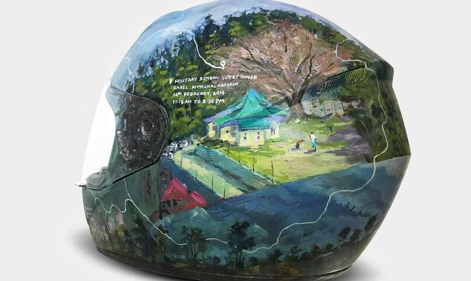 Ganesh Shinde, aka Miles on Canvas, took a bike trip through Himachal Pradesh and documented his experiences on his helmet. It will be displayed at the Moto Art Show in Mumbai.