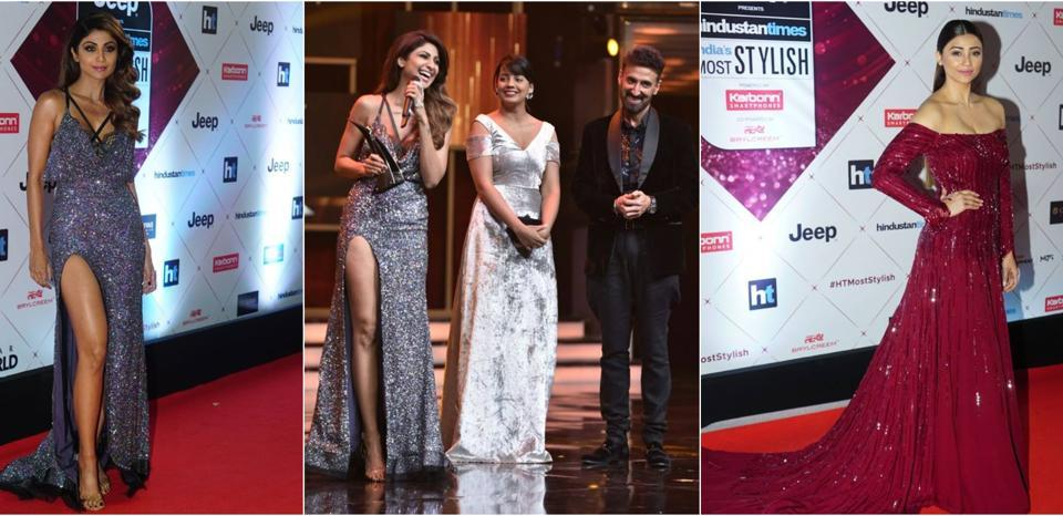 Shilpa Shetty and Daisy Shah on the red carpet, followed by Shilpa Shetty sharing a sweet moment on the stage