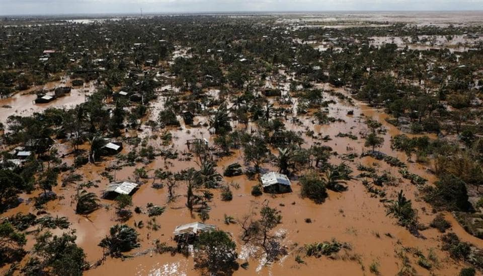 Flooded homes are seen after Cyclone Idai in Buzi district outside Beira, Mozambique.