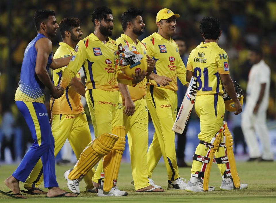 Chennai Super Kings players leave the ground after their win in the VIVO IPL T20 cricket match between Chennai Super Kings and Royal Challengers Bangalore (AP)