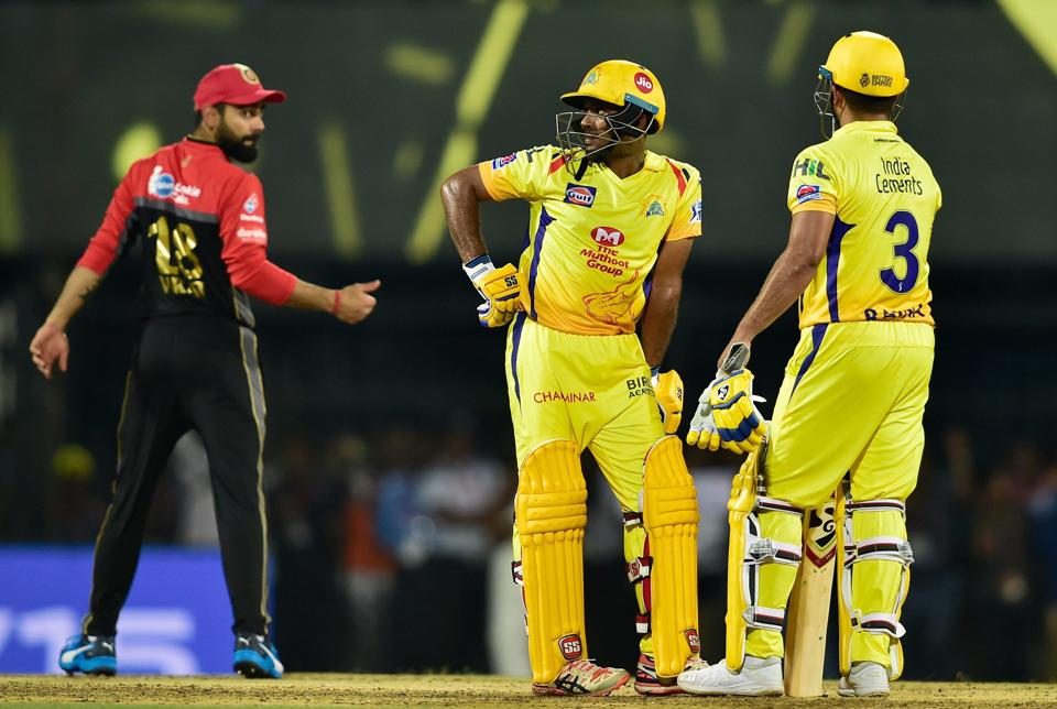 Chennai: Chennai Super Kings (CSK) players Suresh Raina and Ambati Rayudu during the first match of 12th edition of the Indian Premier League (PTI)