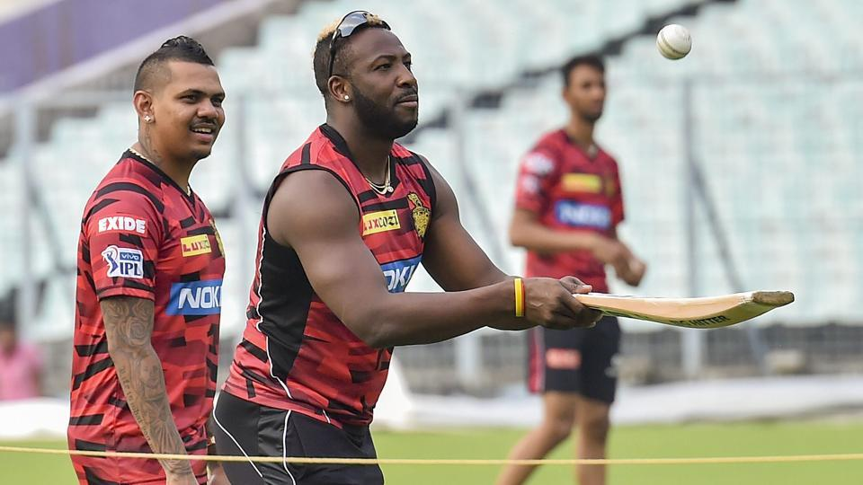 KKR cricketers Andre Russell and Sunil Narine during a training session ahead of IPL 2019.