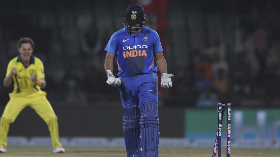 India's Rohit Sharma looks at his hands after his bat slipped and he was stumped out during the final ODI against Australia.