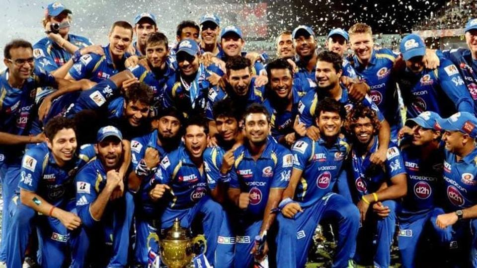 Mumbai Indians celebrate after winning the IPL in 2017.