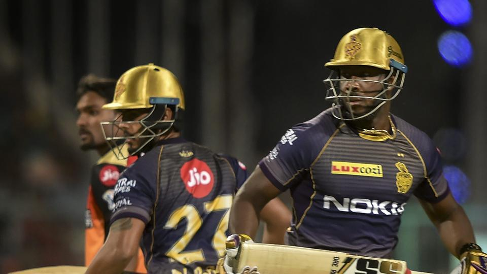 Kolkata Knight Riders Nitish Rana and Andre Russell run between the wickets during IPL match against Sunrisers Hyderabad. (PTI)