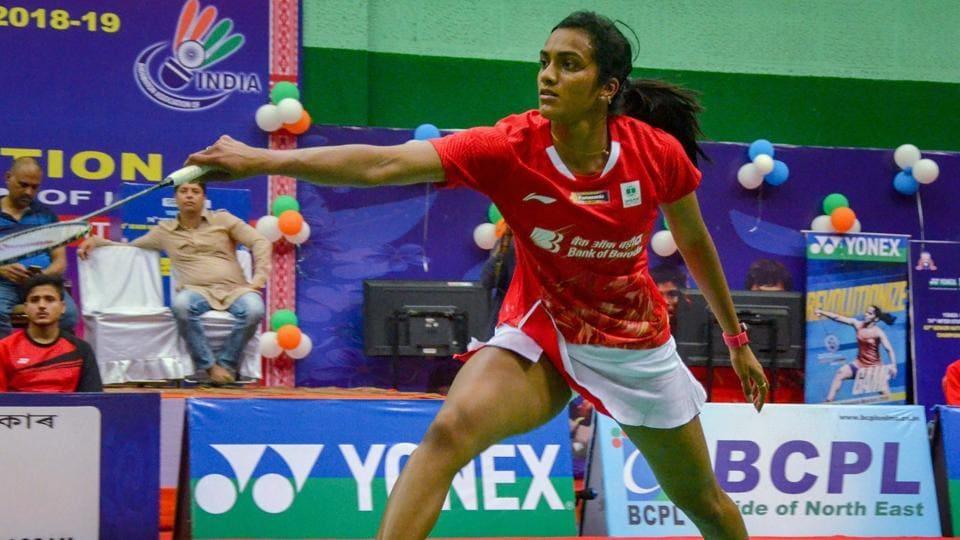 PV Sindhu plays a shot against Ashmita Chaliha (unseen).