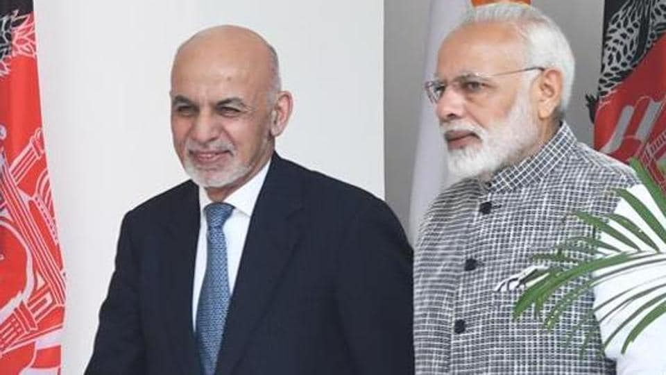 Prime Minister Narendra Modi with Afghanistan President Ashraf Ghani at Hyderabad House in New Delhi, 2017.