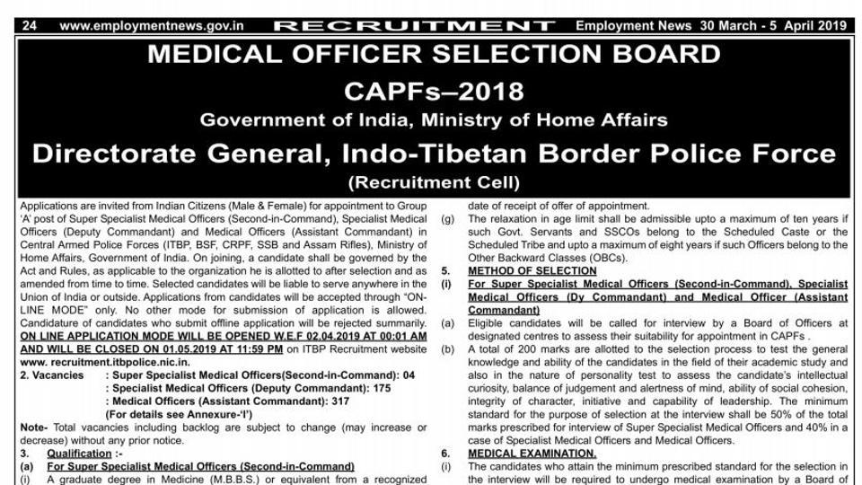 ITBP Medical Officers Recruitment,ITBP Recruitment 2019,ITBP Recruitment