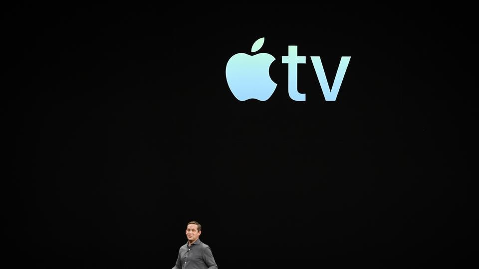 Peter Stern, vice president of services at Apple Inc., speaks during an event at the Steve Jobs Theater in Cupertino, California, U.S., on Monday, March 25, 2019.