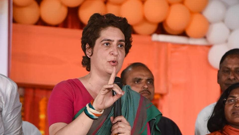 Congress General Secretary  Priyanka Gandhi Vadra at a public rally during her party's campaign for the upcoming Lok Sabha elections in UP, at Sirsa village in Prayagraj .