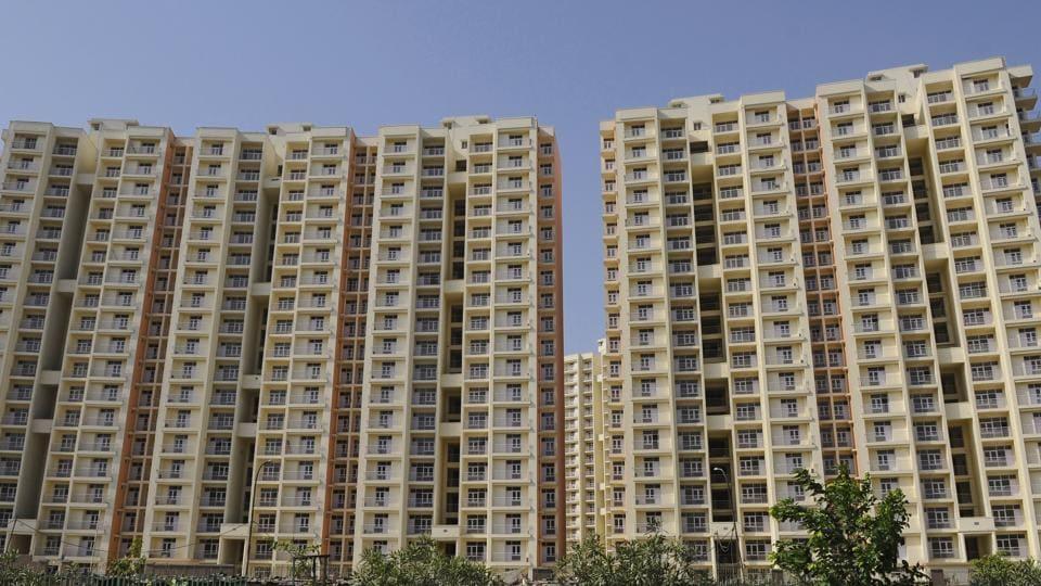 Housing societies and apartments along Noida-Greater Noida expressway.