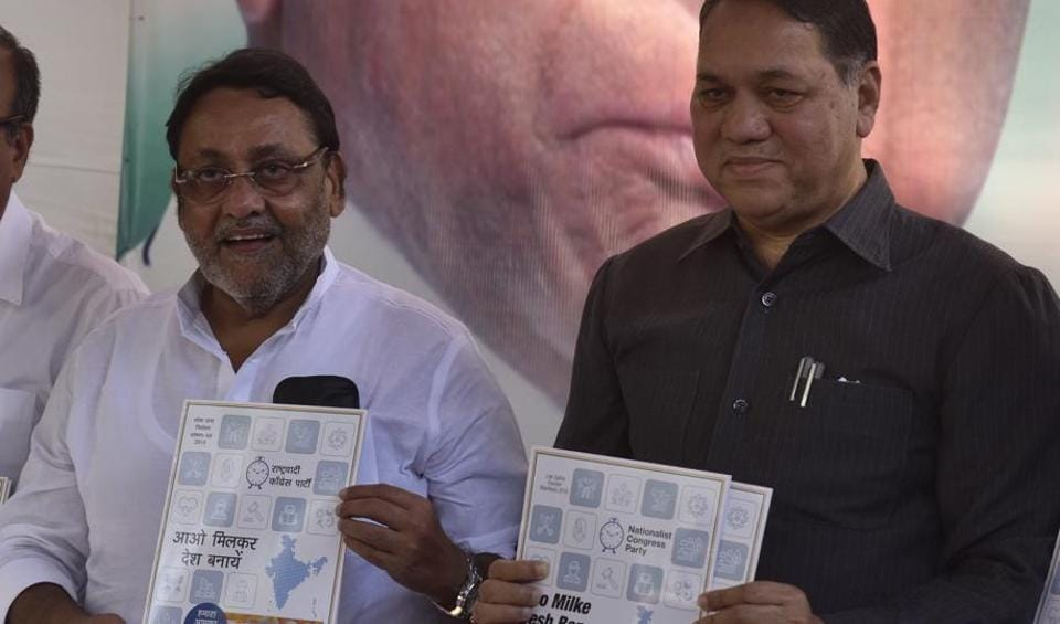 Mumbai, India - March 25, 2019: NCP leader Dilip Walse-Patil and Nawab Malik addressing to media during official release of manifesto for the upcoming Lok Sabha election at Nariman Point in Mumbai, India, on Monday, March 25, 2019. (Photo by Anshuman Poyrekar/Hindustan Times)