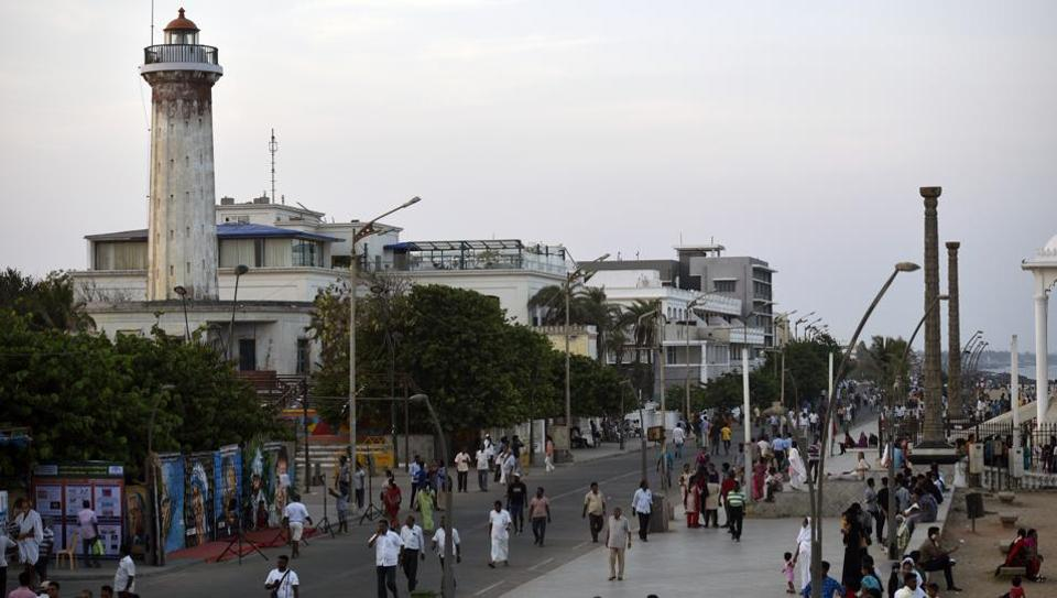 If Puducherry were human, its soul would be the Beach Road. Traffic is closed here between six in the evening and seven-thirty in the morning, and pedestrians claim the space. White faces mingle with brown. Not all the Indians are Tamils – the original inhabitants of Puducherry – just as not all the foreigners are tourists. Come Friday, visitors – often from nearby Chennai or Bengaluru – add to the mix. (Biplov Bhuyan/HT PHOTO)