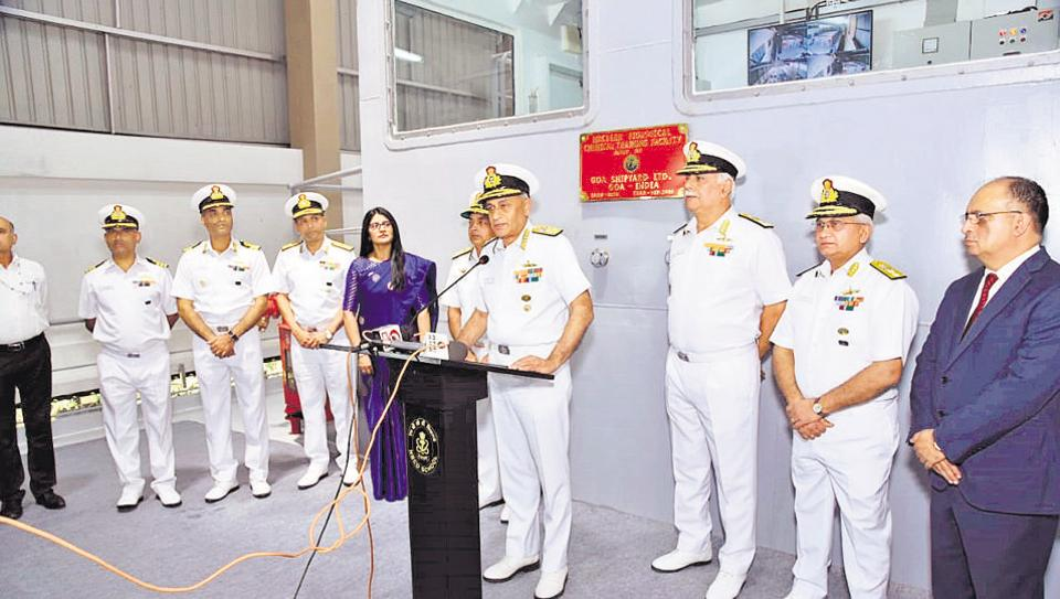 Admiral Sunil Lanba (centre), chief of Naval staff at the inauguration of the nuclear, biological, chemical training facility at Lonavla on Monday.