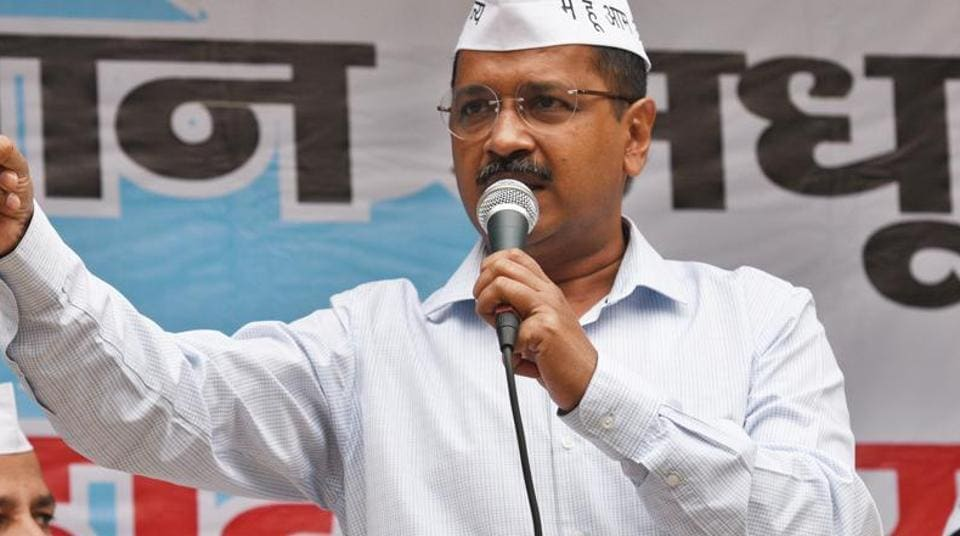 Delhi chief minister Arvind Kejriwal at AAP party office in New Delhi.