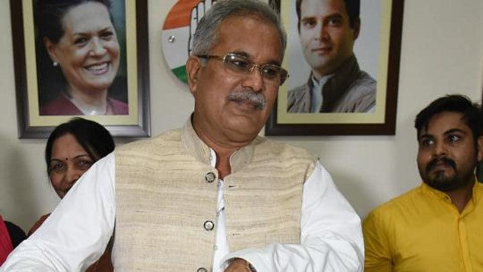 Chhattisgarh chief minister Bhupesh Baghel at state Congress office in Raipur.