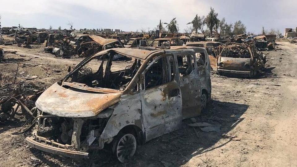 A view of burnt vehicles after the US-backed forces said they had captured Baghouz. The capture of Baghouz marked a big moment in Syria's eight-year war, wiping out one of the main contestants' territory, with the rest split between President Bashar al-Assad, Turkey-backed rebels and the Kurdish-led SDF. (REUTERS)